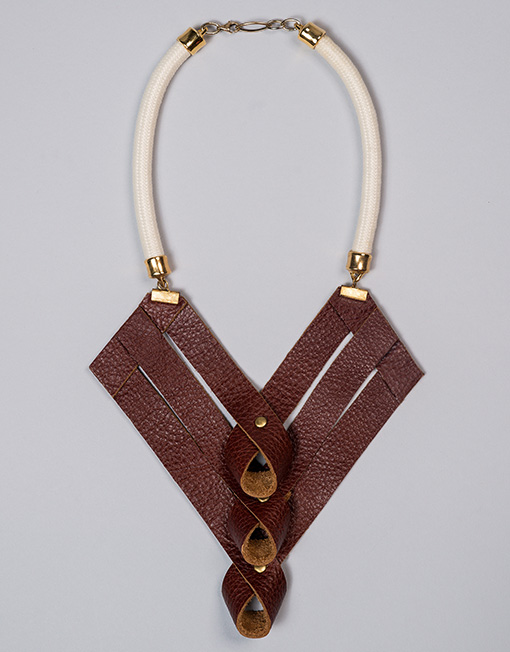 statement jewellery fashion necklace trigonal burgundy handmade product leather